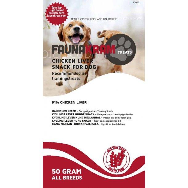 FAUNAKRAM hunde snack 50 g med kyllinge lever