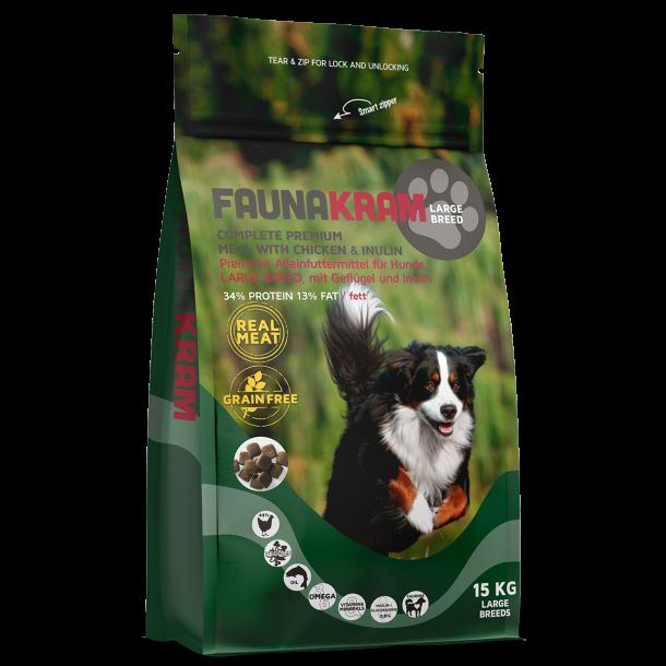 FAUNAKRAM 15kg fuldfoder til store hunderacer